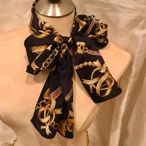 100% Silk Navy & Gold Horn Scarf Charter Club